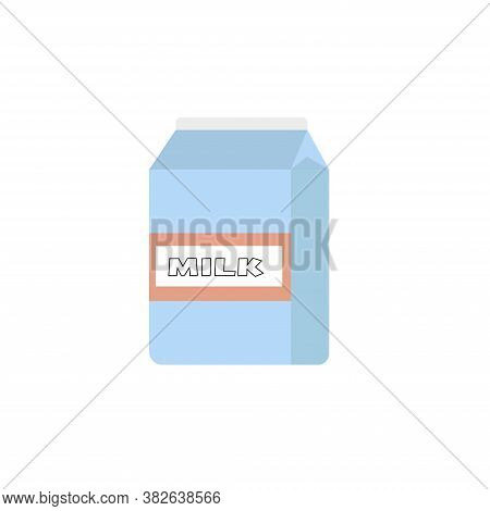 Paper Packet With Milk Isolated On White. Illustration In Flat Style