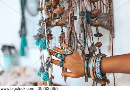 Close Up Of Woman Hand Touching Fashion Accessories