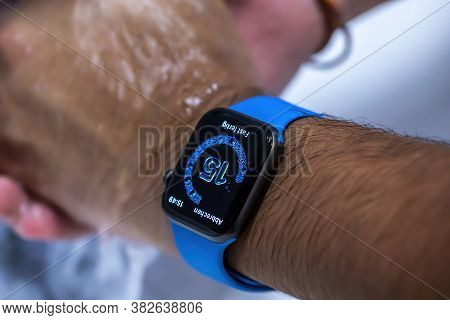 Frankfurt, Germany - August 17th 2020: Testing The New Watchos 7 As A Beta Version Of The Apple Watc