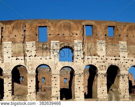 The Ancient Colosseum In Rome, Italy