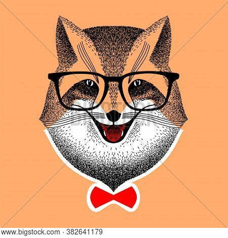 Portrait Of A Red Fox In Glasses. Face Fox With Red Bow-tie. Sly Fox Smiles. Hipster Style. Stylized