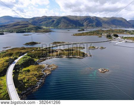 Norway Islands Drone View. More Og Romsdal County Island Landscape With Heroy Municipality. Islands