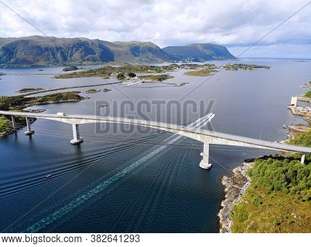 Norway Islands Drone View. More Og Romsdal County Island Landscape With Heroy Municipality. Heroybru