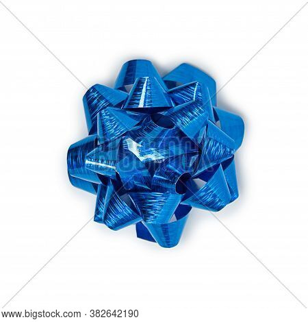 Blue And Shiny Ribbon Bow Isolated On A White Background