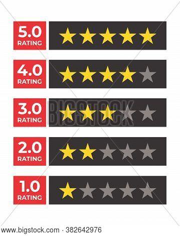 Star Rating Flat Vector Bagde. Rating Stars Customer Product Rating Review. Rate Design. Vector Rati