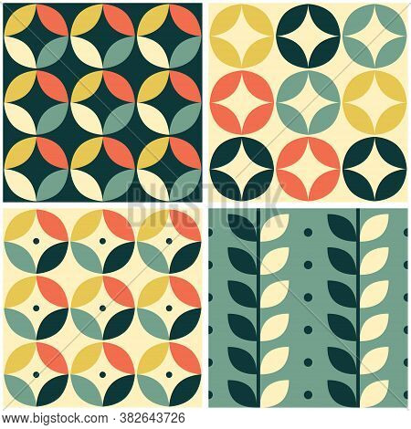 60's And 70's Retro Vector Seamless Pattern Set Of Four, Vintage Style Mid-century Modern Tiled Desi