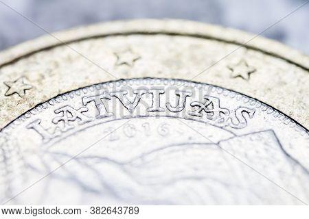 Two Euro Coin Macro Detail With Latvijas Word. Latvian 2 Euro Coin Macro View. European Currency Ext