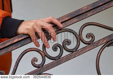 Hand On A Metal Railing, Male Hand Holding The Railing On The Stairs, Go Up The Stairs