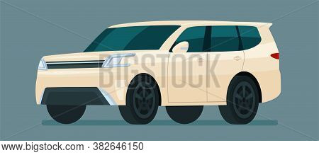 Modern Suv Car Isolated. Car Side View. Vector Flat Style Illustration.