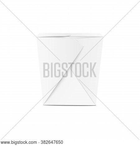 White Chinese Food Takeout Box Mockup From Side View
