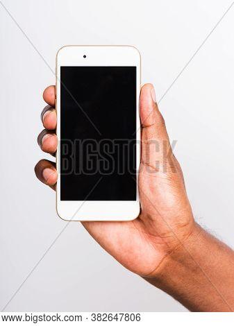 Closeup Hand Black Man Holding Mockup White Modern Digital Mobile Smart Phone Blank Screen On Hand,