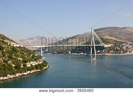 The Franjo Tudjman Bridge Spans an inlet leading to Dubrovnik poster