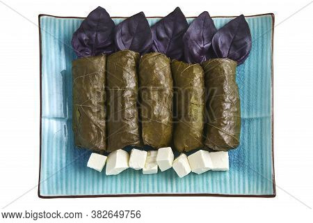 Dolma Of Grape Leaves With Basil And Curd Cheese