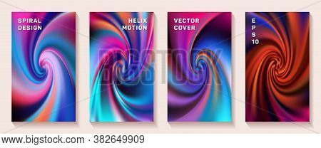 Fluid Gradient Helix Twist Cover Page Templates Vector Set. Trendy Brochure Front Pages Collection.