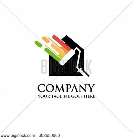 Colorful Paint House Logo Design Vector, House Paint Logo Design Concept Vector, Home House Painting