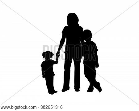 Family Silhouettes Mom With Son And Daughter. Illustration Graphics Icon