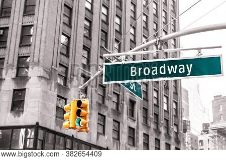 Broadway Sign In New York In The Usa