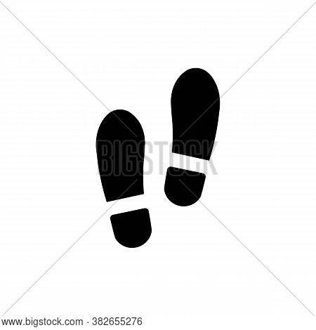 Human Footprints Icon. Flat Black Sing.continue Symbol. Vector Graphics For Website Interface And Ap
