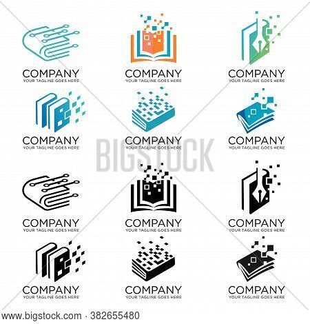 Set Of Digital Tech Book Logo Design, Pixel Book Logo Template Design Vector, Online Education Logo