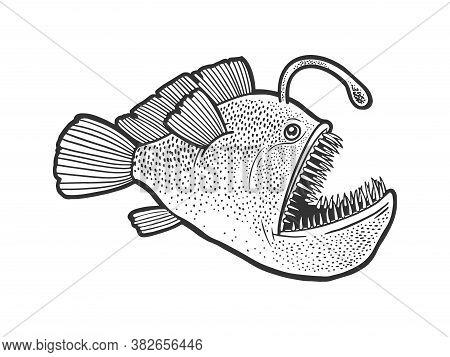 Angler Deep Sea Fish With Light Sketch Engraving Vector Illustration. T-shirt Apparel Print Design.