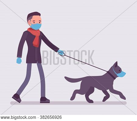 Man Walking With Dog Under Quarantine Wearing Mask, Gloves. Pet Owner Taking Puppy For Walk, Followi