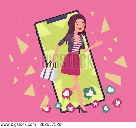 Digital Detox, Young Woman Breaking Through Phone Screen. Lady Happy Refrains From Using Devices, Sm