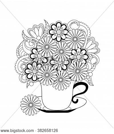 Contour Drawn Cup With Flowers. Monochrome Illustration For Greeting Card,  Tea Party Invitation, Ad