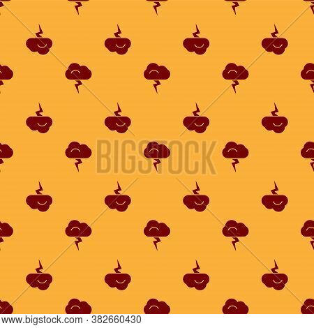 Red Storm Icon Isolated Seamless Pattern On Brown Background. Cloud And Lightning Sign. Weather Icon
