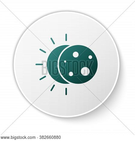 Green Eclipse Of The Sun Icon Isolated On White Background. Total Sonar Eclipse. White Circle Button