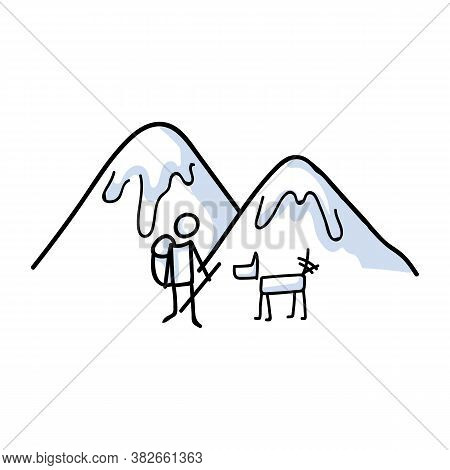 Hand Drawn Stickman Hiking With Dog Concept. Simple Outdoor Vacation Doodle Icon For Staycation, Fam