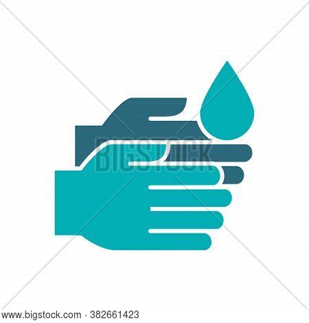 Cleaning Hands With Disinfectant Colored Icon. Cleaning Supply, Palms Disinfection Symbol