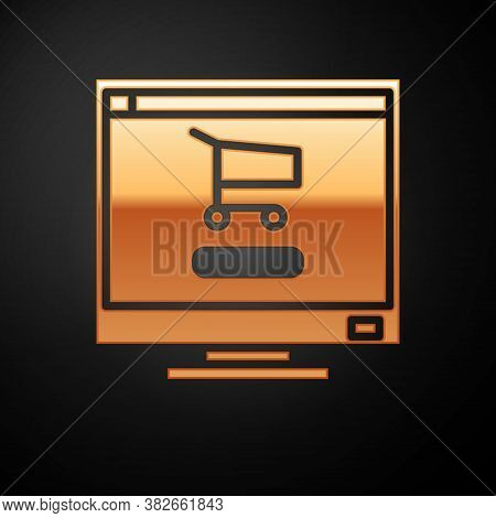 Gold Shopping Cart On Screen Computer Icon Isolated On Black Background. Concept E-commerce, E-busin