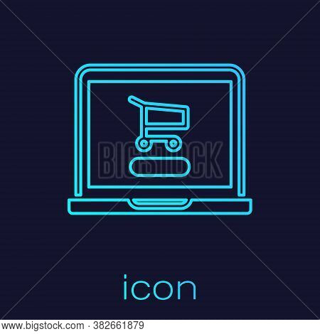 Turquoise Line Shopping Cart On Screen Laptop Icon Isolated On Blue Background. Concept E-commerce,