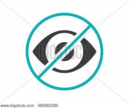 Human Eye With Prohibition Sign Colored Icon. Transplantation, No Visual Organ, Transplant Rejection