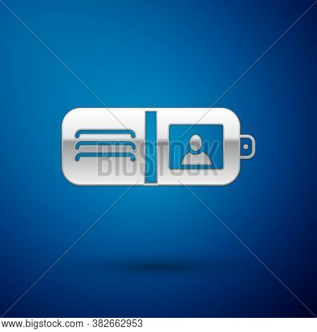Silver Wallet Icon Isolated On Blue Background. Purse Icon. Cash Savings Symbol. Vector Illustration