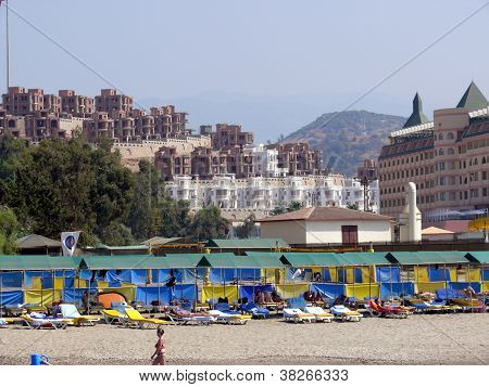 Alania, Turkey - August 31, 2008: Building Of New Famous District Near The Beach On August 31, 2008