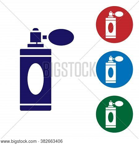 Blue Aftershave Bottle With Atomizer Icon Isolated On White Background. Cologne Spray Icon. Male Per