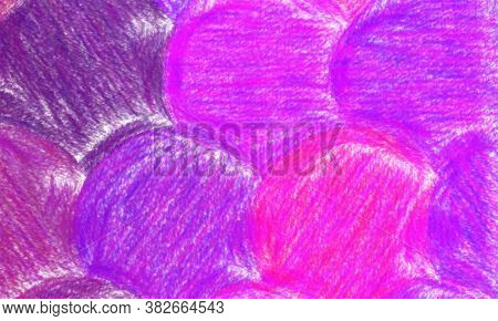 Fuchsia Color Circles Wax Crayon With Low Coverage Background, Digitally Created.