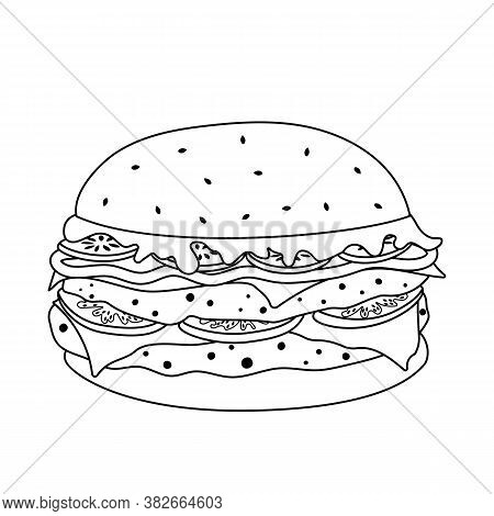 Outline Doodle Double Burger Isolated On White Background. High-calorie Fast Food. Cheeseburger With