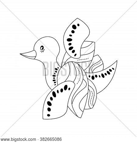 Cute Little Duck. Flying. Coloring Page. Black And White. Vector Illustration.