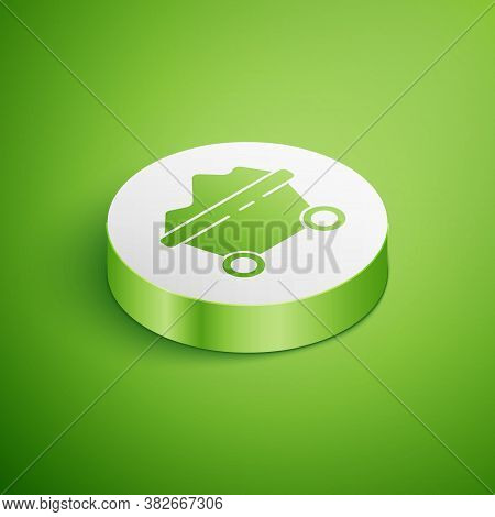 Isometric Coal Mine Trolley Icon Isolated On Green Background. Factory Coal Mine Trolley. White Circ