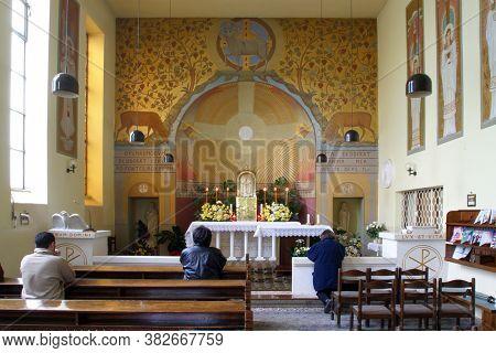 ZAGREB, CROATIA - NOVEMBER 26, 2014: Corpus Domini Church in Zagreb, Croatia