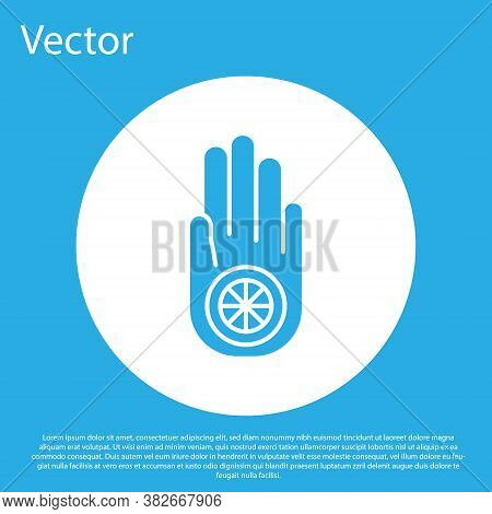 Blue Symbol Of Jainism Or Jain Dharma Icon Isolated On Blue Background. Religious Sign. Symbol Of Ah