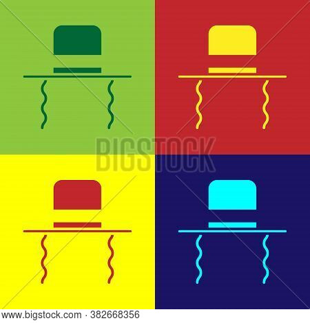 Pop Art Orthodox Jewish Hat With Sidelocks Icon Isolated On Color Background. Jewish Men In The Trad