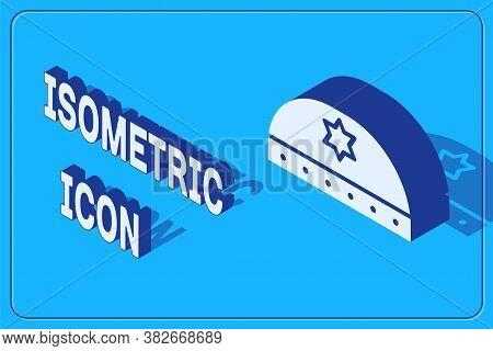Isometric Jewish Kippah With Star Of David Icon Isolated On Blue Background. Jewish Yarmulke Hat. Ve