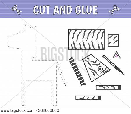 Cut And Glue. A Zebra Of Geometric Shapes. Children's Game. Constructor, Application. Vector