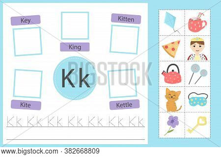 Alphabet Tracing Worksheet For Preschool And Kindergarten. Writing Practice Letter K. Exercises With