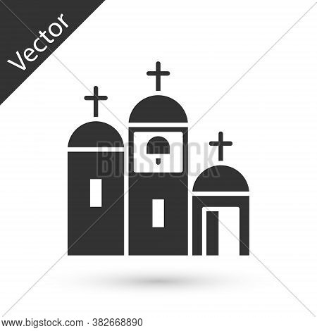 Grey Church Building Icon Isolated On White Background. Christian Church. Religion Of Church. Vector