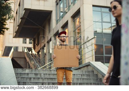 Dude With Sign - Man Stands Protesting Things That Annoy Him. Solo Demonstration His Right To Talk F