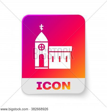 White Church Building Icon Isolated On White Background. Christian Church. Religion Of Church. Recta